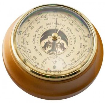 Барометр Утес БТК-СН-17 шлифованное золото с термометром (корпус-дерево, диам.175/130мм, откр.механизм)