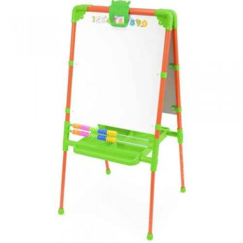 Мольберт детский двусторонний Ника М2/О Растущий (цвет каркаса - Оранжевый) с большим пеналом, магнитной азбукой и мозаикой
