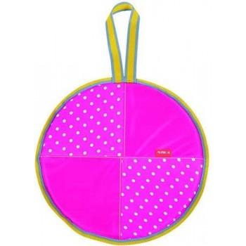 Ледянка мягкая круглая Л36 (горошек розовый, диаметр 36см, низ-автотент, верх-ткань Оксфорд, наполнитель-поролон)