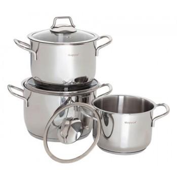 Набор посуды Маруся 1001к нержавеющая сталь 6 предметов (1.5л,2.5л,3.2л) цилинд.форма