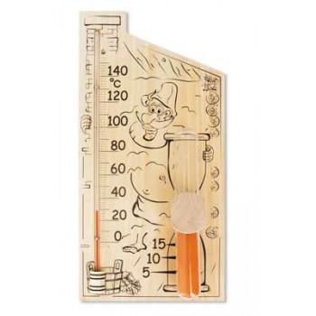 Термометр для сауны Стеклоприбор Банная Станция (дерево, термометр+песочные часы)