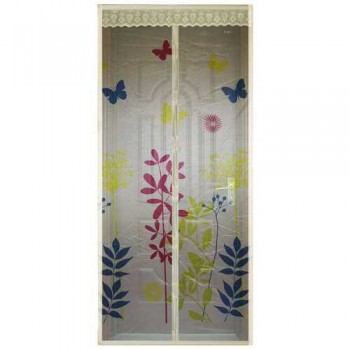 Противомоскитная сетка Капутомоскито дизайн Цветы 100х210см, 9 магнитов, бежевая