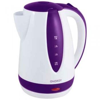 Energy E-229 чайник электрический дисковый, 1.8л, 1500Вт, пластиковый, шкала уровня воды, бело-фиолетовый