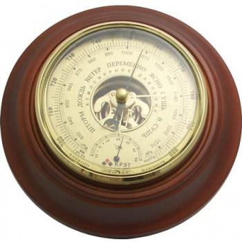 Барометр Утес БТК-СН-24 шлифованное золото с термометром (корпус-дерево, диам.210/130мм, откр.механизм)