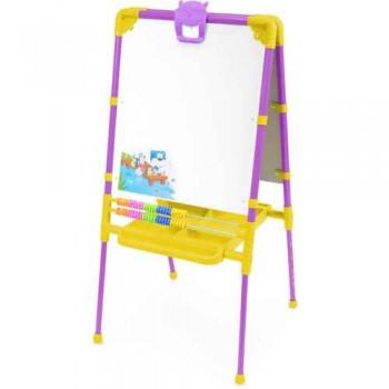 Мольберт детский двусторонний Ника М2/СН Растущий (цвет каркаса - Сиреневый) с большим пеналом, магнитной азбукой и мозаикой