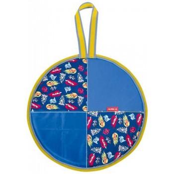 Ледянка мягкая круглая Л36 (машинки голубой, диаметр 36см, низ-автотент, верх-ткань Оксфорд, наполнитель-поролон)