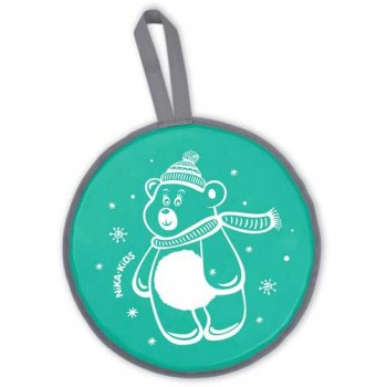 Ледянка мягкая круглая с рисунком ЛР40 (мишка зеленый, диаметр 40см, низ-автотент, верх-винилискожа, наполнитель-поролон)