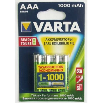 Аккумулятор Varta (AAА) R2U 1000 мА/ч (4 шт. в уп.)