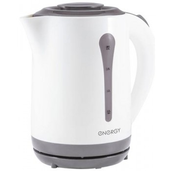 Energy E-213 чайник электрический дисковый, 2.5л, 2200Вт, пластиковый, шкала уровня воды, белый