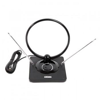 Антенна Сигнал SAI 963 комнатная, диапазон приема ДМВ, МВ, DVB T, DVB T2, коэф.усиления 15-30dB, усы 1м, кабель 3м