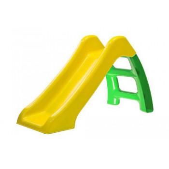 Горка детская пластмассовая Пл-С115 высота 70см (жёлтый скат/зелёная лестница)