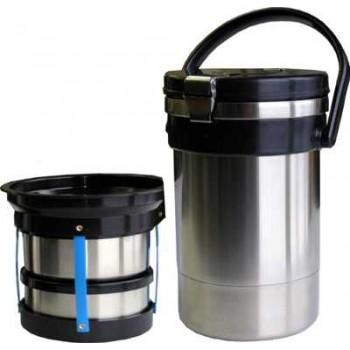 Термос Амет Экспресс SD 1с494 ланч-бокс, 2.0л, колба из нержавейки, 3 контейнера из пластика, с ручкой