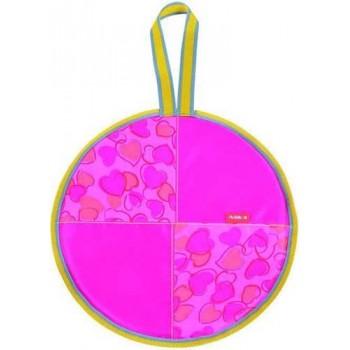 Ледянка мягкая круглая Л36 (сердечки розовый, диаметр 36см, низ-автотент, верх-ткань Оксфорд, наполнитель-поролон)