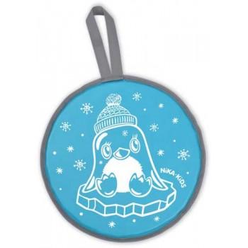 Ледянка мягкая круглая с рисунком ЛР40 (пингвин голубой, диаметр 40см, низ-автотент, верх-винилискожа, наполнитель-поролон)