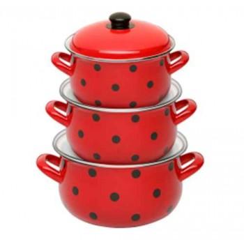 Набор посуды Маруся 111 6 предметов (2.0л,3.0л,4.0л) эмаль с декором Горошек