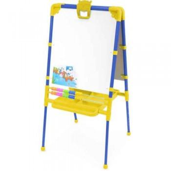 Мольберт детский двусторонний Ника М2/С Растущий (цвет каркаса - Синий) с большим пеналом, магнитной азбукой и мозаикой