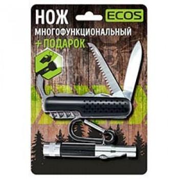 Нож складной многофункциональный Ecos + фонарик (черный)