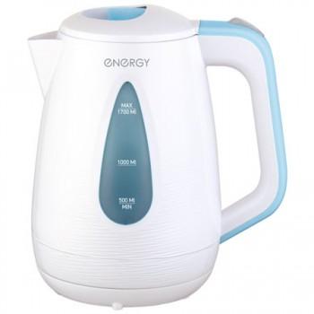 Energy E-214 чайник электрический дисковый, 1.7л, 1850-2200Вт, пластиковый, шкала уровня воды, бело-голубой