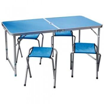 Набор туристический Пикник CHO-150-E синий (стол мдф 1200х600мм+4 стула) 993086