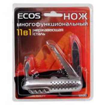 Нож складной многофункциональный Ecos SR061 11 в 1, 17.5см, нержавеющая сталь, блистер (325111)