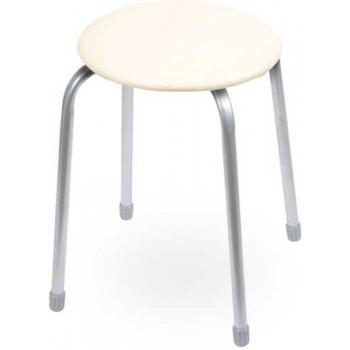 Табурет Ника Классика ТК02 (слоновая кость) на 4-х опорах, сиденье круглое 320мм, фанера, винилискожа