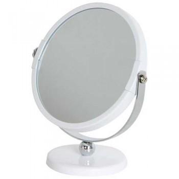 Зеркало косметическое M-3135, двухстороннее на ножке (диам.12.5см, хром. металл, стекло)