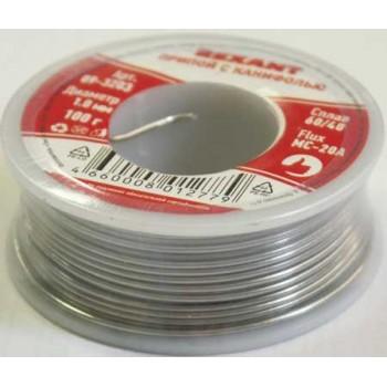 Припой с канифолью Rexant 100 г, диаметр 1 мм (Sn60 Pb40 Flux 2.2%) (09-3203)