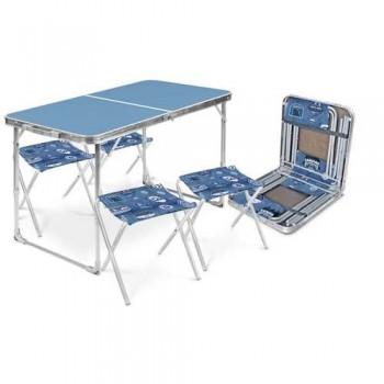 Набор туристический ССТ-К2 столешница голубая (стол влагостойкий + 4 складных стула)