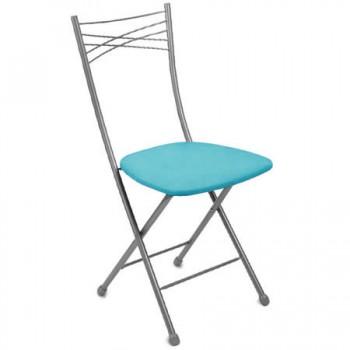 Стул складной со спинкой Ника ССН1/5 цвет сиденья - бирюзовый