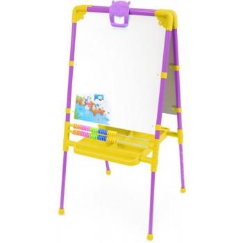 Мольберт детский двусторонний Ника М2Л/СН Растущий (цвет каркаса - Сиреневый) с большим пеналом и магнитной азбукой