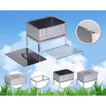 Коптильня двухъярусная Стандарт Плюс (нержавеющая сталь0.8мм) 480х280х170мм с подставкой и поддоном для сбора жира