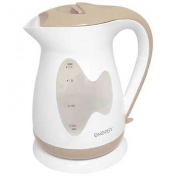 Energy E-218 чайник электрический дисковый, 1.7л, 2000Вт, пластиковый, шкала уровня воды, белый