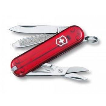Нож-брелок Victorinox Classic, 58 мм, 7 функций, красный полупрозрачный (0.6223.T)