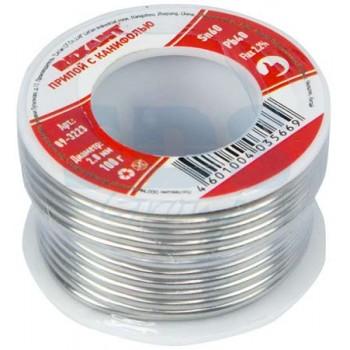 Припой с канифолью Rexant 100 г, диаметр 2 мм (Sn60 Pb40 Flux 2.2%) (09-3223)
