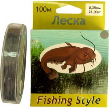 Леска Fishing Style RL2902 0.25mm тест 21.00кг 100m (плетенка серая)