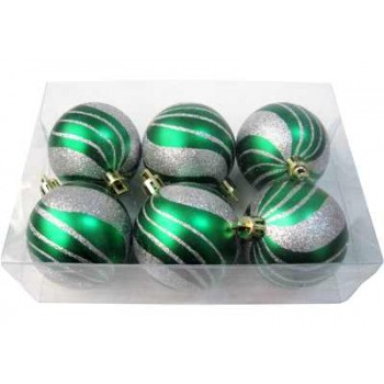 Шарики новогодние IRIT ING-031B матовые 6см (6 шт в коробке) цв.серо-зеленый