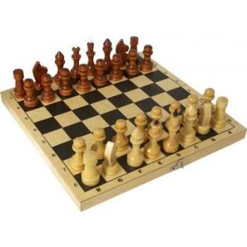 Шахматы деревянные Обиходные лакированные Р-1 в комплекте с доской