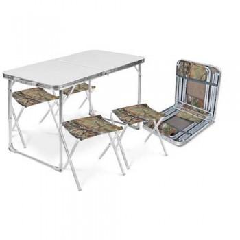Набор туристический ССТ-К2 столешница металлик (стол влагостойкий + 4 складных стула)