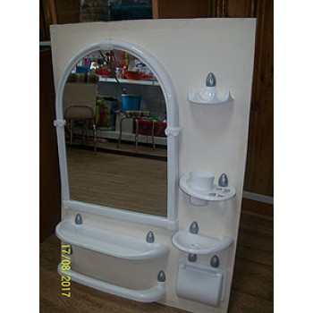 Набор для ванной Олимпия 7пр.зеркло,пластик бел.