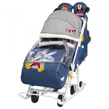 Санки-коляска Ника Disney baby DВ2/4, МиккиМаус, синий