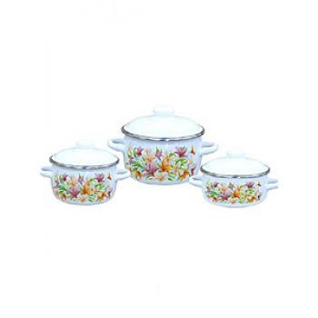 Набор посуды 07 Лилии к.1,5/2,0/4,0л 1КА071М,белосн.