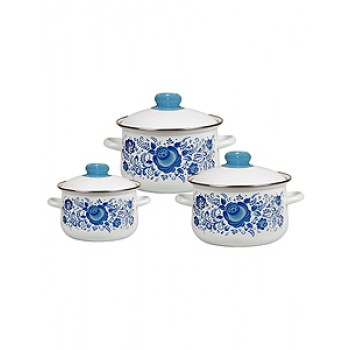 Набор посуды 408 Гжель бел.к2/4/5,5л конические 1С408