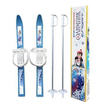 Лыжи детские ОлимпикСпорт 66см, с палками75см в