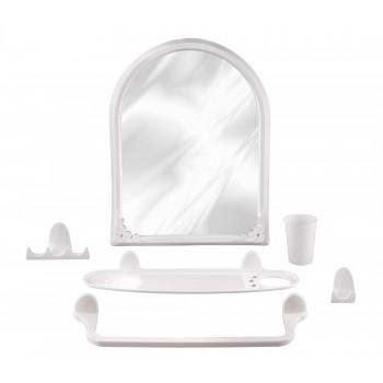 Набор аксессуаров для ванной Аква №1 М1322 с зеркалом, белый