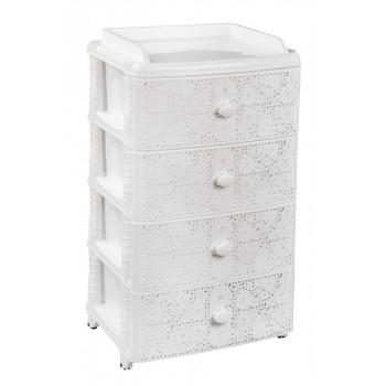 Комод пластиковый Лаура М6791, 4 ящика, белый