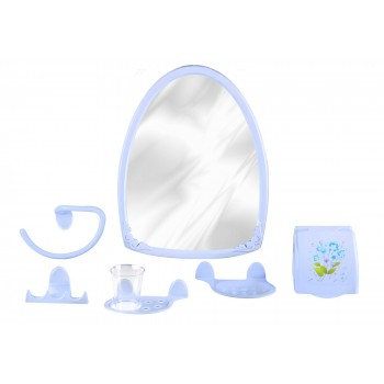 Набор аксессуаров для ванной Аква №2 М1323 с зеркалом, голубой