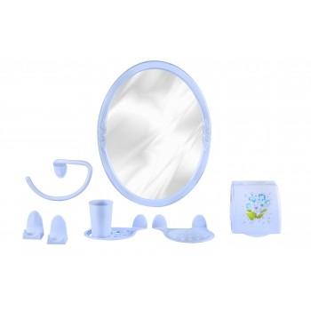 Набор аксессуаров для ванной Аква №4 М1673 с зеркалом, голубой