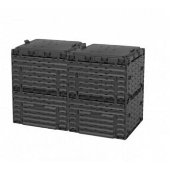 Ящик для компоста (компостер садовый) 600л Piteco с крышкой K1130 чёрный (из 2-х мест)