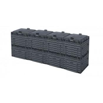 Ящик для компоста (компостер садовый) 1200л Piteco с крышкой K1130 чёрный (из 4-х мест)