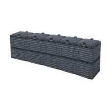 Ящик для компоста (компостер садовый) 1500л Piteco с крышкой K1130 чёрный (из 5-и мест)